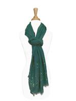 Gold Studded Frayed End Long Women's Scarf