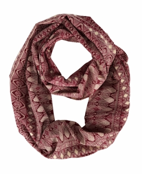 Graphic Bohemian Infinity Loop Circle Scarves (Maroon)