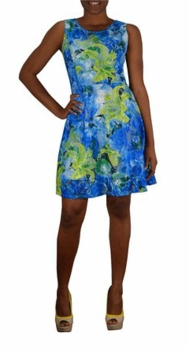 Graphic Lace Floral Design Knee Length Skater Dress (Turquoise)
