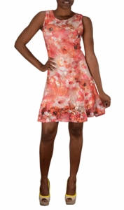 Graphic Lace Floral Design Knee Length Skater Dress (Coral)