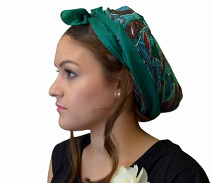 Green Printed Head Scarf