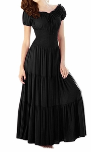 Gypsy Boho Cap Sleeves Smocked Waist Tiered Renaissance Maxi Dress Black