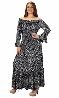 Gypsy Boho Cap Sleeves Smocked Waist Tiered Renaissance Maxi Dress Black/White