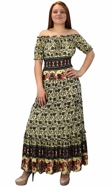 Gypsy Boho Cap Sleeves Smocked Waist Tiered Renaissance Maxi Dress Black/Yellow