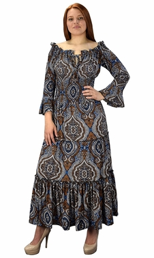 Gypsy Boho Cap Sleeves Smocked Waist Tiered Renaissance Maxi Dress Blue/Brown