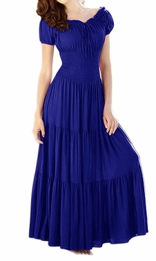 Gypsy Boho Cap Sleeves Smocked Waist Tiered Renaissance Maxi Dress Crimson Blue