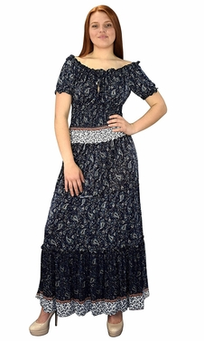 Gypsy Boho Cap Sleeves Smocked Waist Tiered Renaissance Maxi Dress Navy/Blue