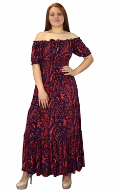 Gypsy Boho Cap Sleeves Smocked Waist Tiered Renaissance Maxi Dress Navy/Red