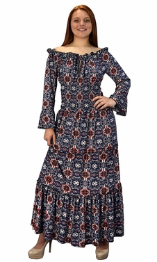 Gypsy Boho Cap Sleeves Smocked Waist Tiered Renaissance Maxi Dress  Navy/Red/Blue