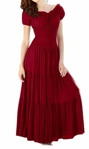 Gypsy Boho Cap Sleeves Smocked Waist Tiered Renaissance Maxi Dress Red