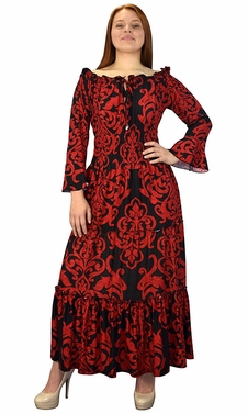 Gypsy Boho Cap Sleeves Smocked Waist Tiered Renaissance Maxi Dress Red/Black