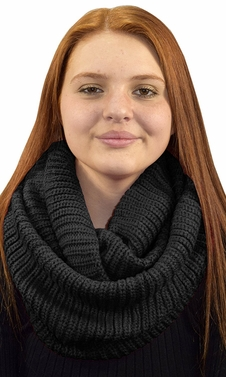 Hand Made Thick Ribbed Chunky Knit Infinity loop Scarves Ribbed Black