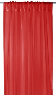"""Home Collection Light and Elegant 1 Piece Solid Color Sheer Window Treatment Curtain Panel with Rod Pocket - 54"""" X 84"""" (Red)"""