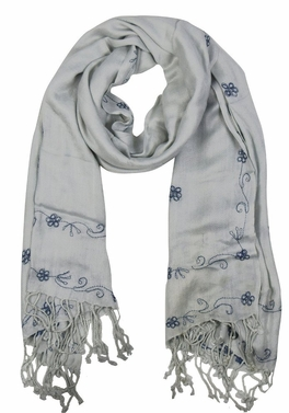 Vintage Floral Hand Embroidered Pashmina Shawl Scarf (Baby Blue)