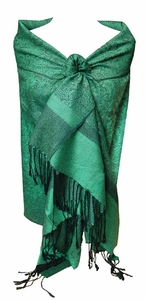 Jacquard Green and Black Pashmina Shawl Wrap