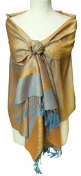 Jacquard Orange and Light Blue Pashmina Shawl Wrap