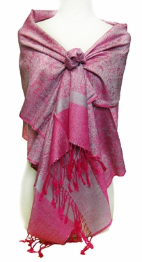 Jacquard Silver and Hot Pink Pashmina Shawl Wrap