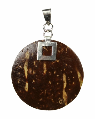 Jewelry Sterling Silver & Dark Brown Coconut Wood Etched Pendant