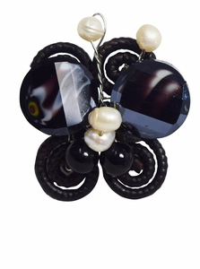 Jewelry Unique Black Onyx W/fresh Water Pearls Butterfly Shaped Adjustable Ring