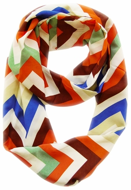 Vibrant & Silky Feel Brown Chevron Multicolored Infinity Loop Scarf