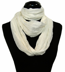 Peach Couture Fashion Lightweight Crinkled Infinity Loop Scarf (White)