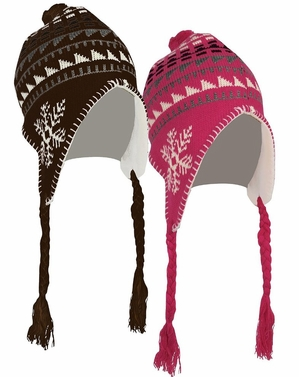 Kids Winter Knit Pom Pom Fun Snowflake Print Trooper Trapper Ski Hat 2 Pack Set (Brown/Pink)