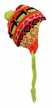 Kids Winter Knit Pom Pom Fun Snowflake Print Trooper Trapper Ski Hat (Neon Yellow)