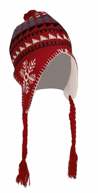 Kids Winter Knit Pom Pom Fun Snowflake Print Trooper Trapper Ski Hat (Red)