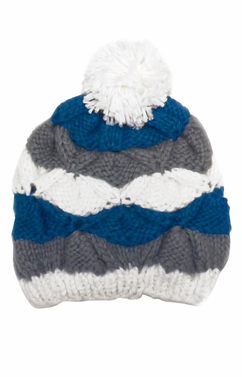 Knit Striped Cozy Warm Cable Knit Winter Crochet Cap Ski Hat Beret