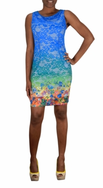 Lace Rainbow Hem Scoop Neck Sleeveless Sheath Midi Dress