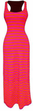 Light Beach Summer Striped Racerback Maxi Dress Sundress (Fuchsia and Orange)