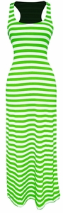 Light Beach Summer Striped Racerback Maxi Dress Sundress (Lime and White)