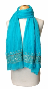 Light & Soft Sequined Turquoise Scarf