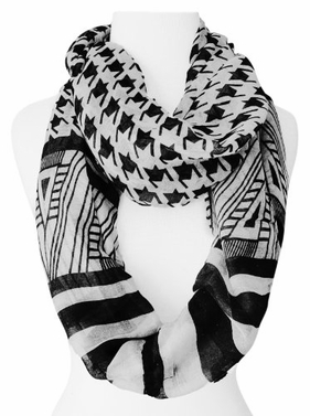 Light Tribal and Striped Houndstooth Sheer Infinity Loop Scarf (Black/White)