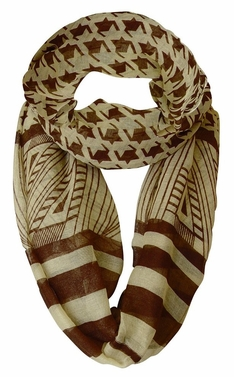 Light Tribal and Striped Houndstooth Sheer Infinity Loop Scarf (Brown/Tan)
