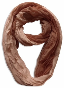 Lightweight Crinkled Infinity Scarf Ombre (Brown)