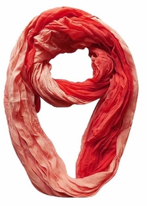 Lightweight Crinkled Infinity Scarf Ombre (Coral)
