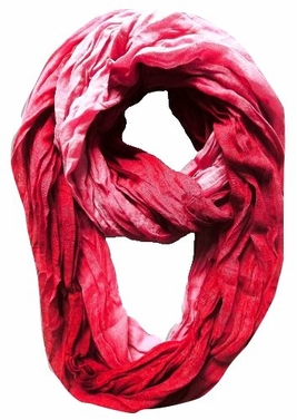 Lightweight Crinkled Infinity Scarf Ombre (Red)