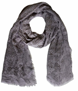 Lightweight Heavenly Henna Paisley Printed Eyelash Fringe Scarf (Gray)