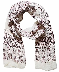 Lightweight Heavenly Henna Paisley Printed Eyelash Fringe Scarf (Wine)