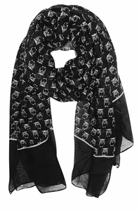 Lightweight Soft Animal Owl Printed Scarf Shawl (Black)