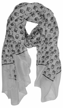Lightweight Soft Animal Owl Printed Scarf Shawl (Grey)