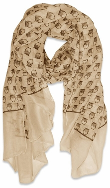 Lightweight Soft Animal Owl Printed Scarf Shawl (Tan)
