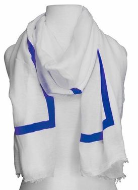 Lightweight Solid Stripe Classic White Linen Scarf Unisex (Blue)