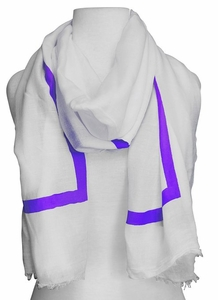 Lightweight Solid Stripe Classic White Linen Scarf Unisex (Lavender)