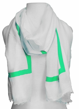 Lightweight Solid Stripe Classic White Linen Scarf Unisex (Mint)