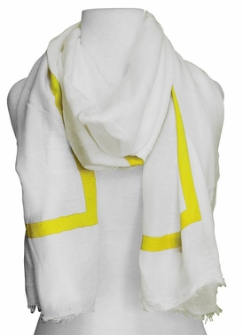 Lightweight Solid Stripe Classic White Linen Scarf Unisex (Yellow)