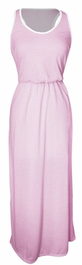 Lightweight Summer Striped Maxi Sundress w/ Racerback (Pink)