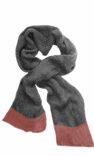 Loose Border Hand Knit Warm Scarf (Rose Grey)
