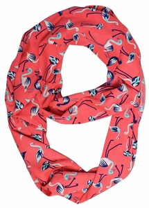 Lovely Multi Pattern Light Bird Floral Print Infinity Loop Scarf (Coral Flamingo)